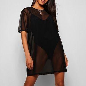 Boohoo Oversized Mesh T-Shirt Dress new